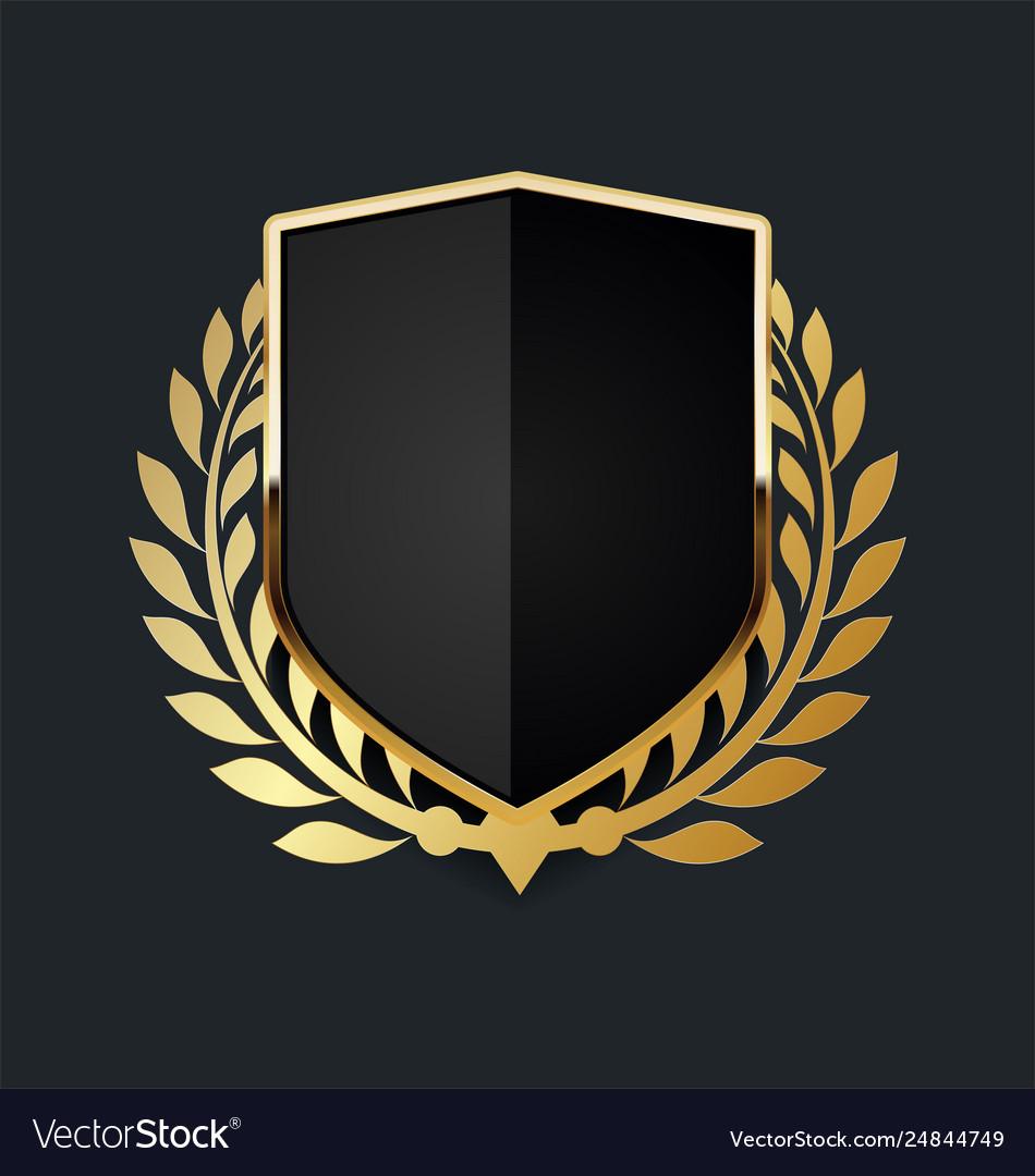 Golden shield with golden laurel wreath 07