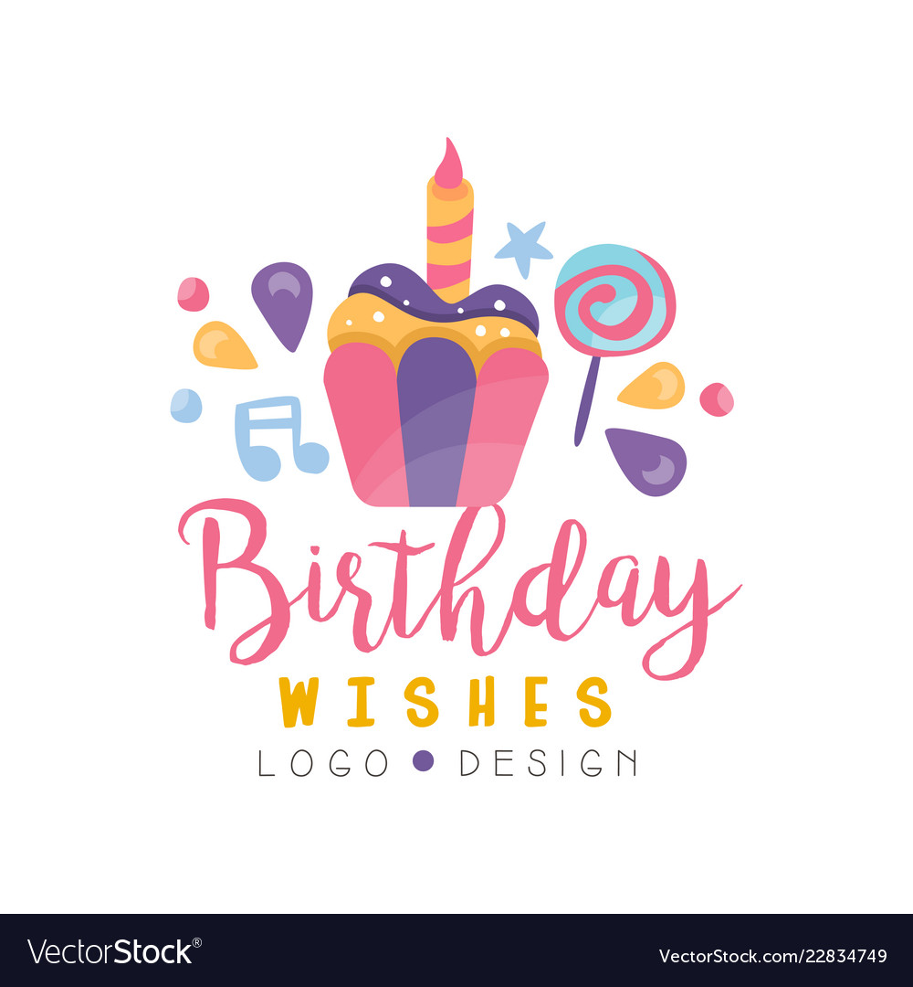 Happy Birthday Logo Design Colorful Design Vector Image