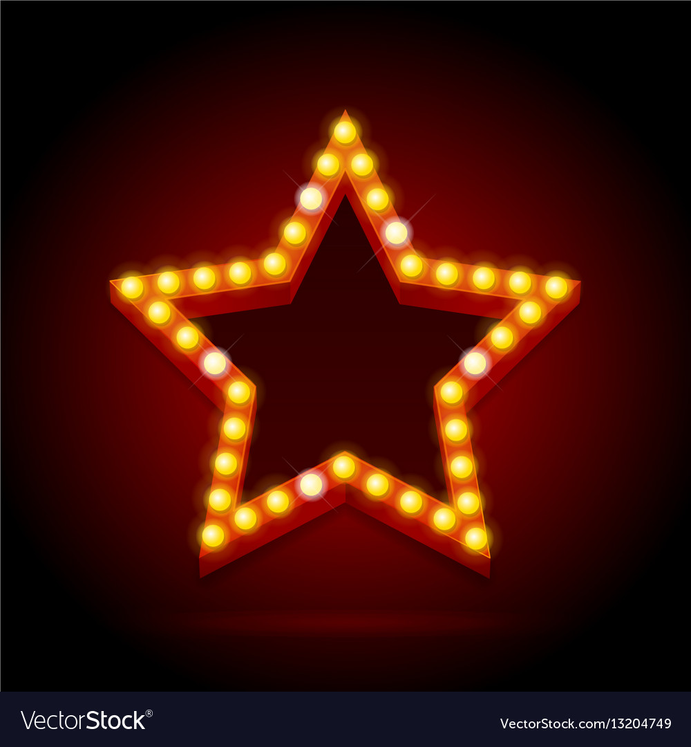 Light bulbs vintage neon glow star shape