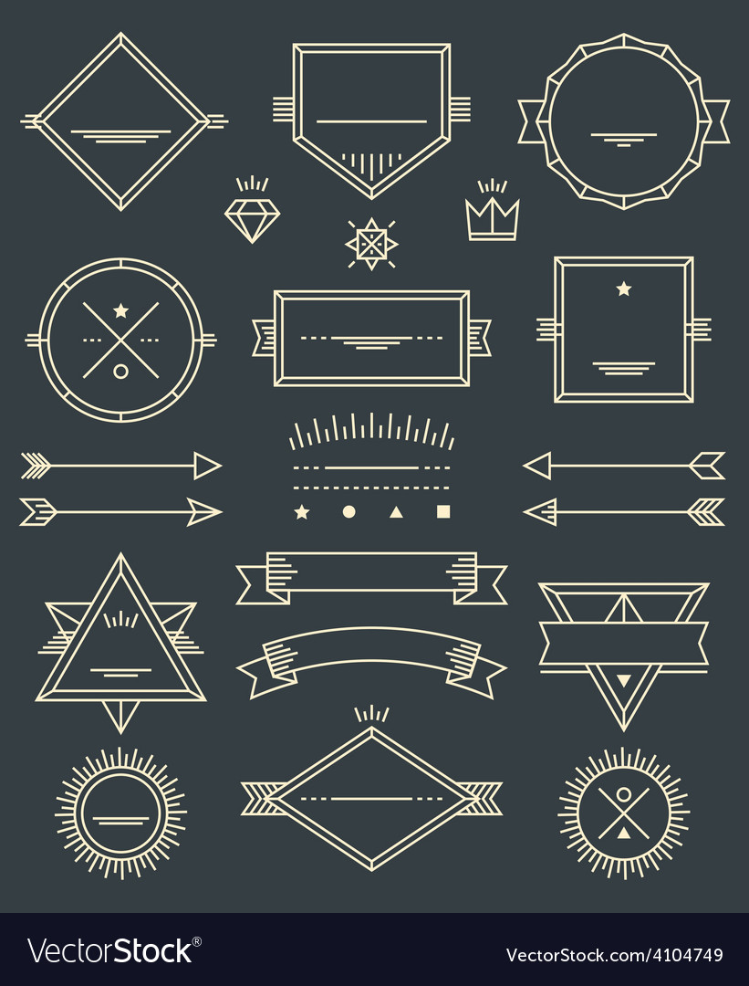 Line Badges Emblems and Design Elements