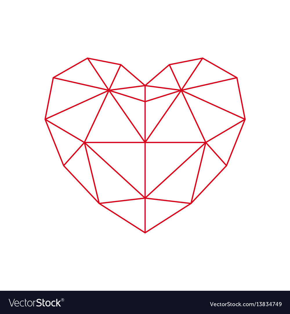 Red polygon heart - icon
