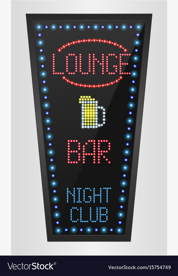 Retro sign with blue lights and the word lounge