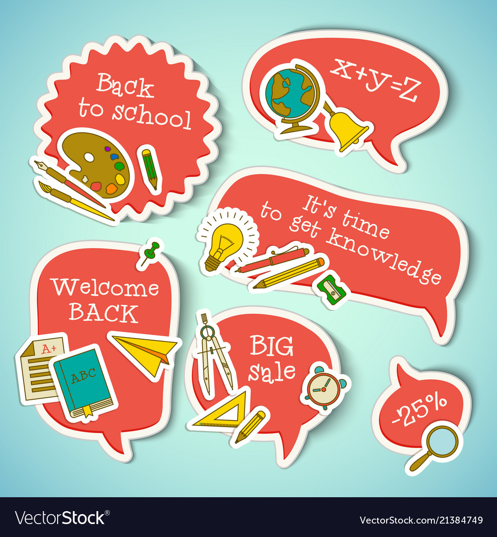 School education stickers collection