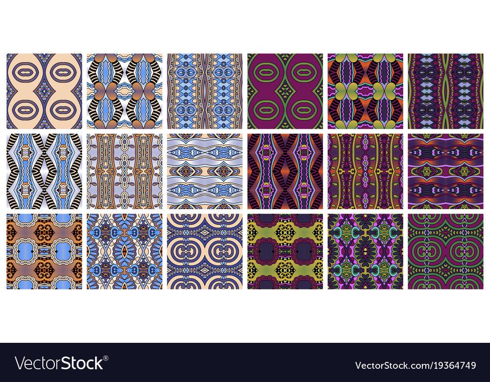 Set of 18 geometric seamless pattern in ethnic