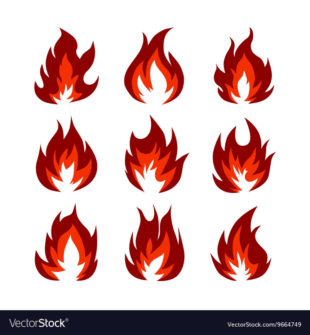 Set Of Fire Symbols Royalty Free Vector Image Vectorstock