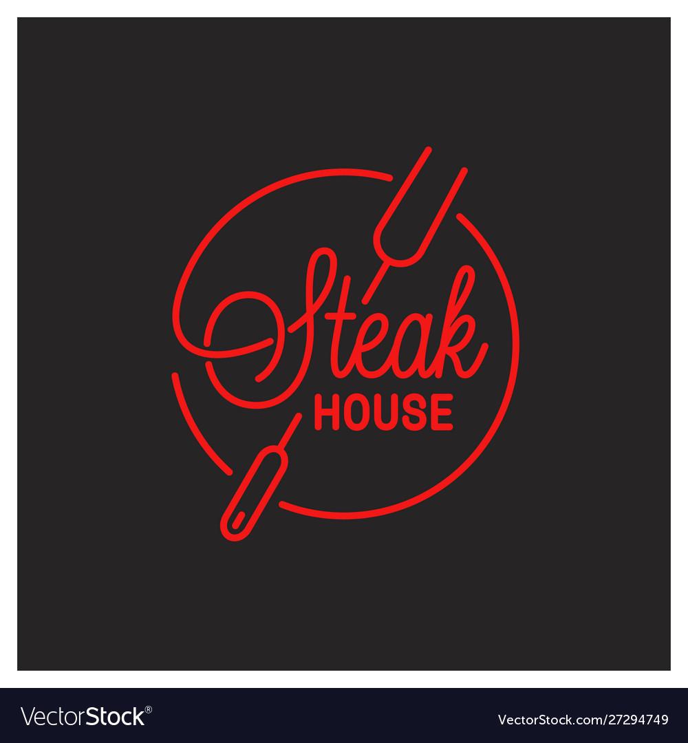 Steak house logo round linear logo steak tool