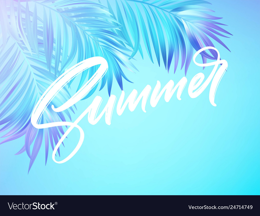 Summer lettering design in a colorful blue and