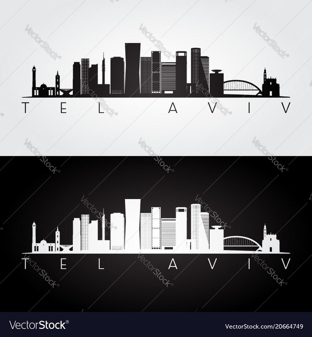 Tel aviv skyline and landmarks silhouette
