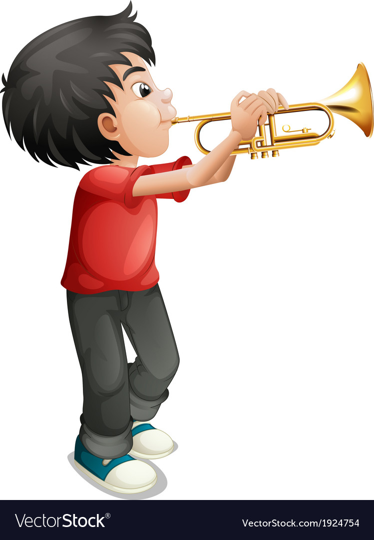 A boy playing with his trombone vector image