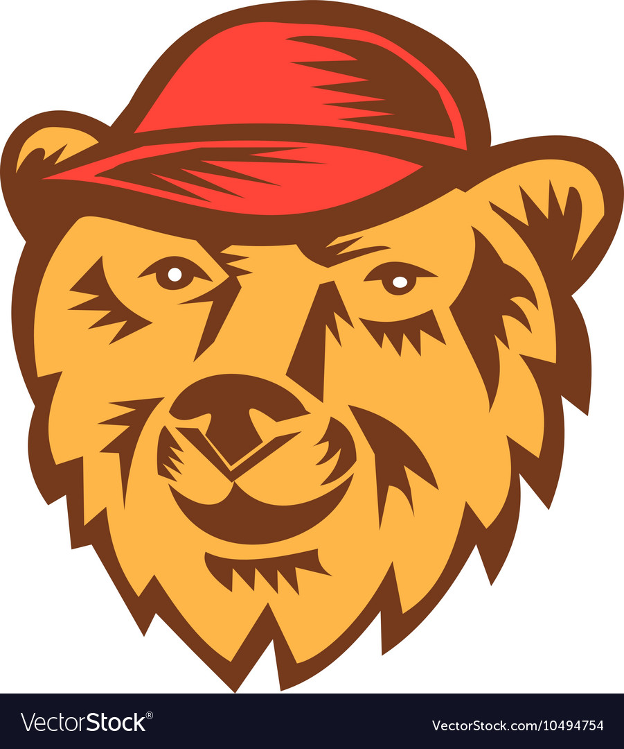 Bear Head Wearing Hat Woodcut vector image