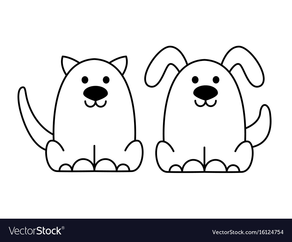 Black cat and dog logo vector image