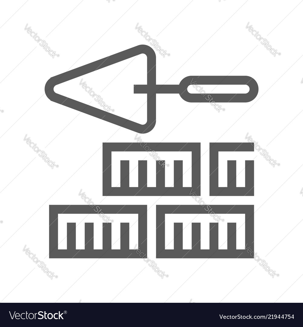 Brickwork home repair and tools line icon
