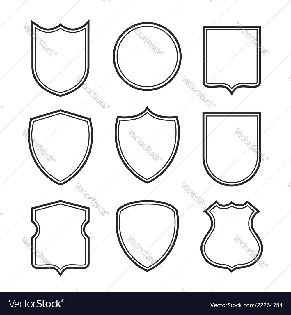 Collection of shield silhouettes isolated on white