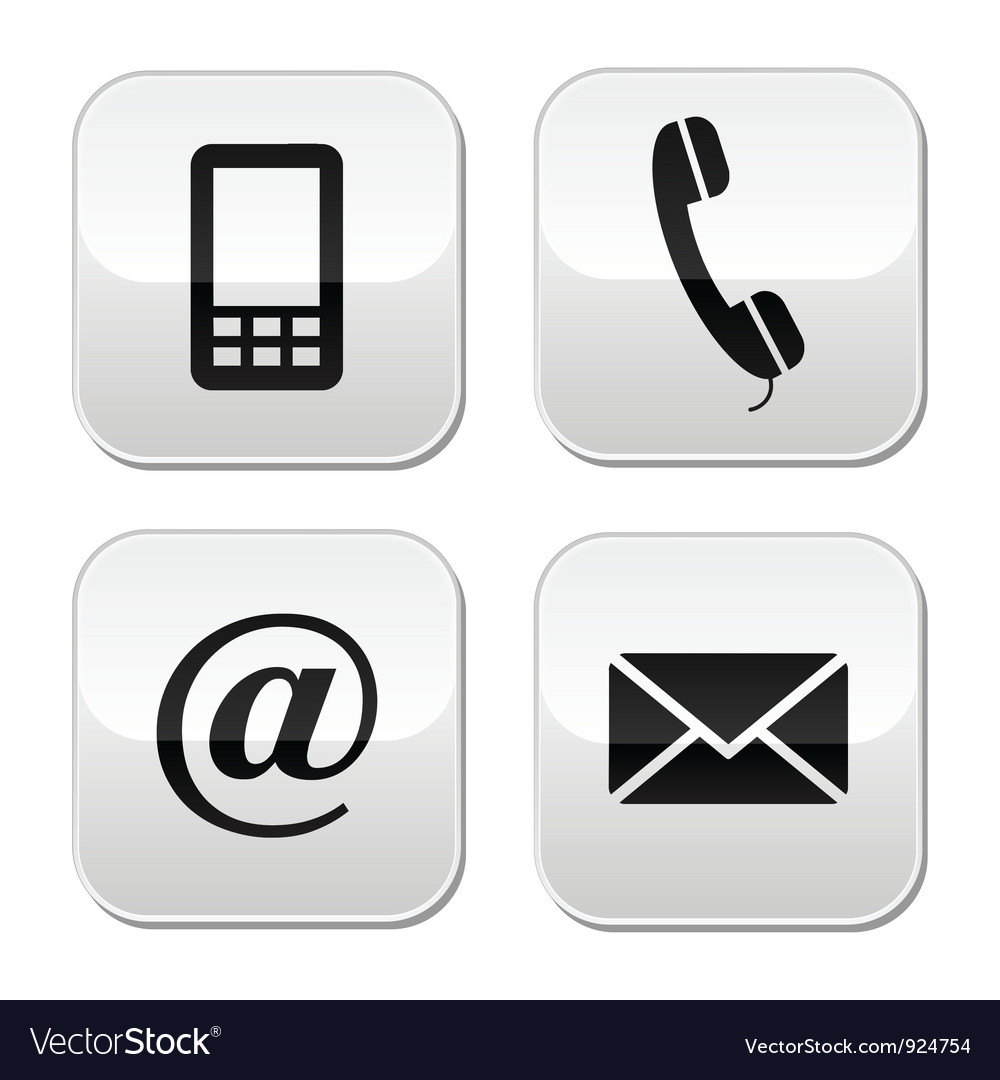 Contact buttons set - email mobile phone