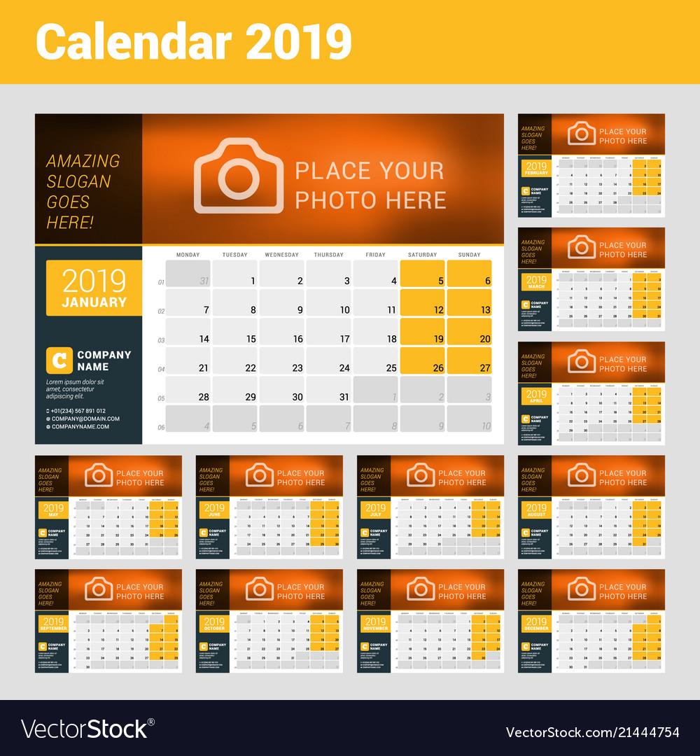Desk Calendar For 2019 Year Design Print Template
