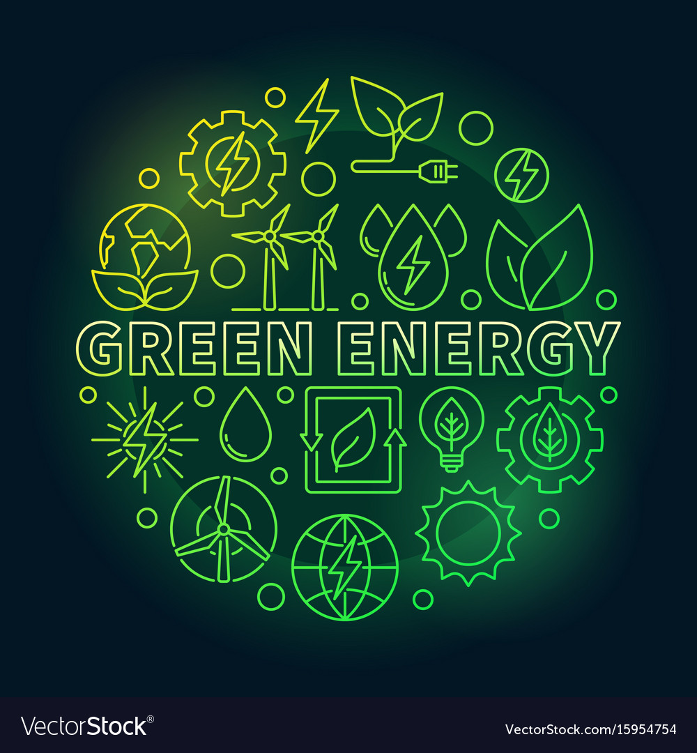 Green energy outline colorful