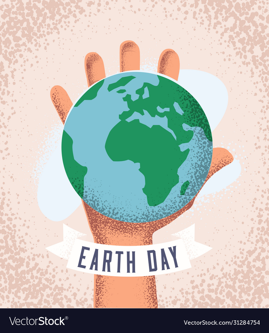 Human hand holding earth planet earth day concept