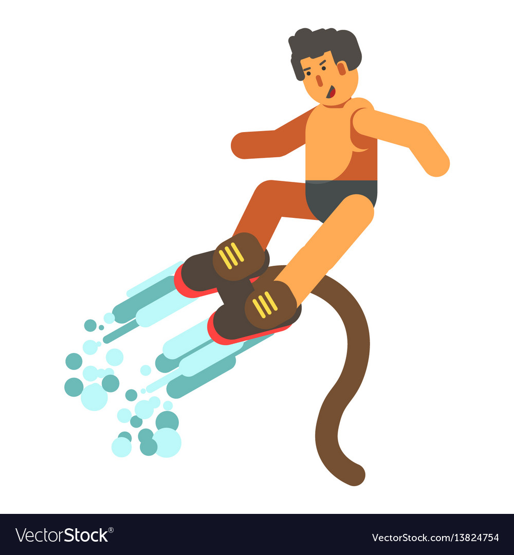 Male person rising up on flyboard from water vector image