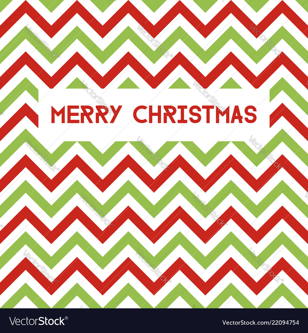 Merry christmas greeting card with chevron pattern
