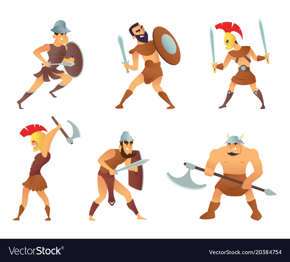 Rome knights or gladiators in different action