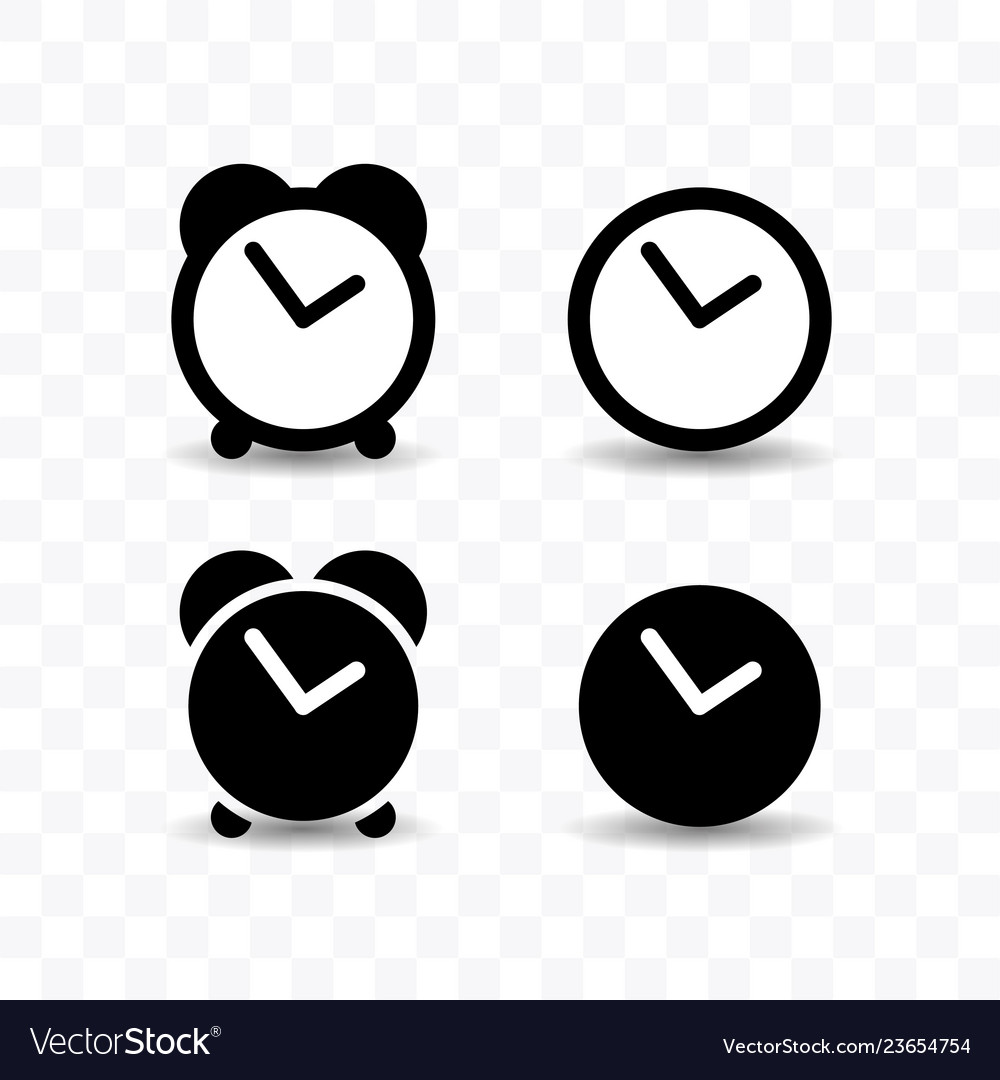 Set of clock icon simple flat style