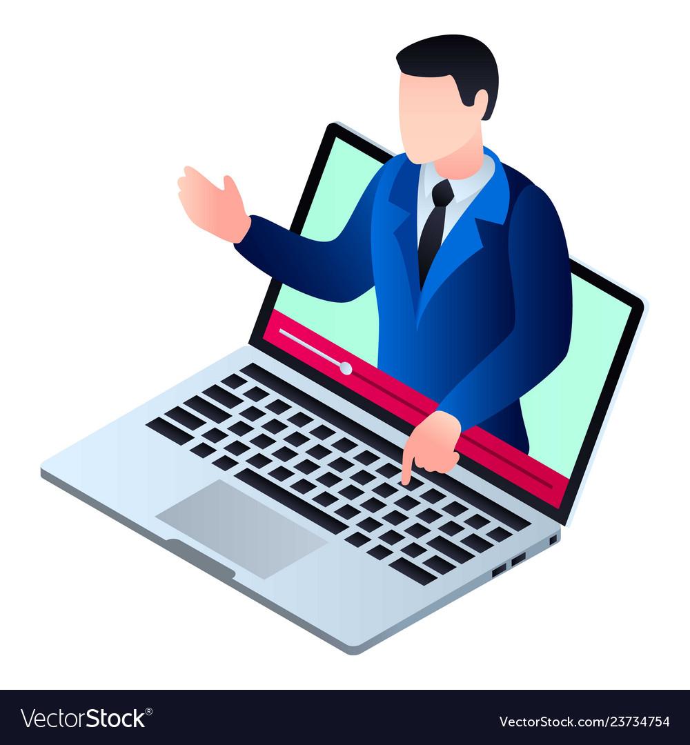Start video webinar icon isometric style