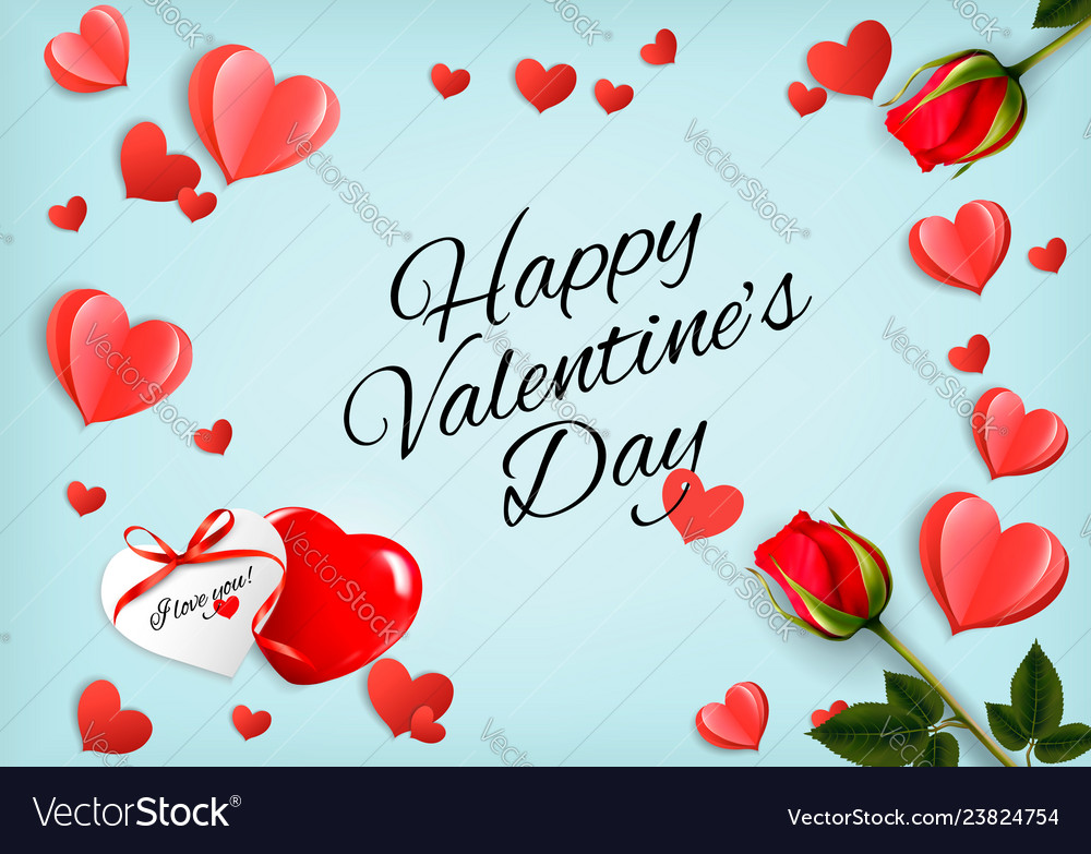 Valentine day holiday getting card with red rose