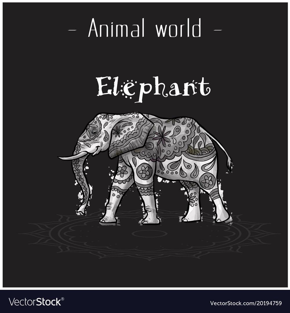 Animal world elephant hand draw tribal style