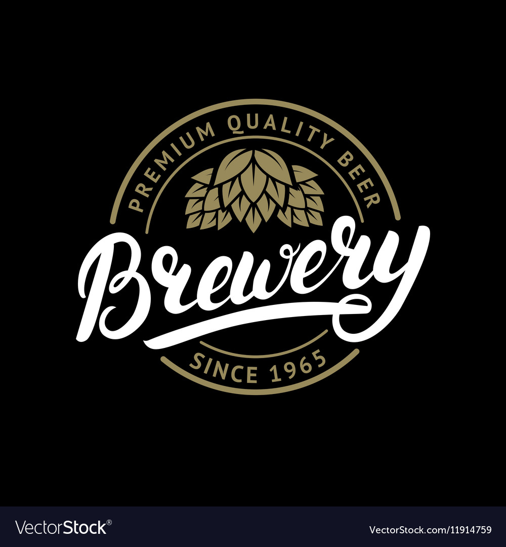 Brewery hand written lettering logo label badge