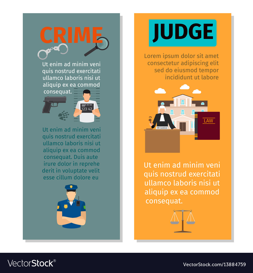 Crime and judge vertical flyers vector image