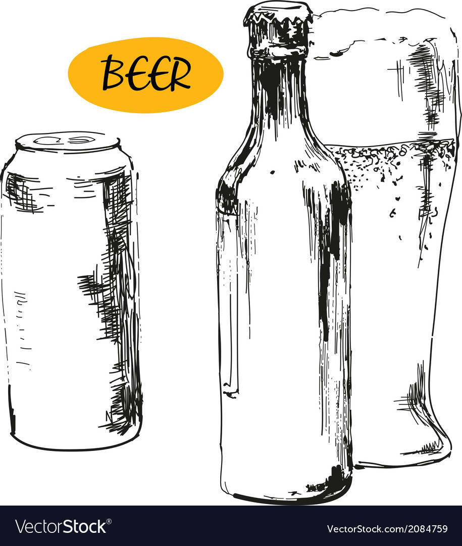 Glass of beer beer bottles and cans