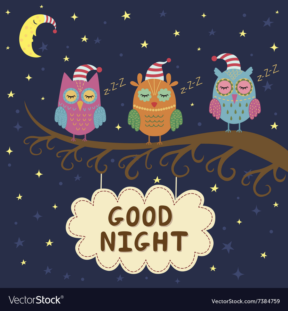 Good Night Card With Cute Sleeping Owls Royalty Free Vector