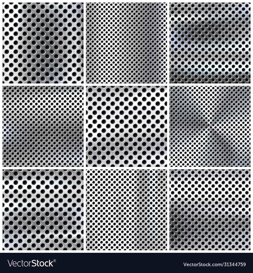 Realistic perforated brushed metal textures set