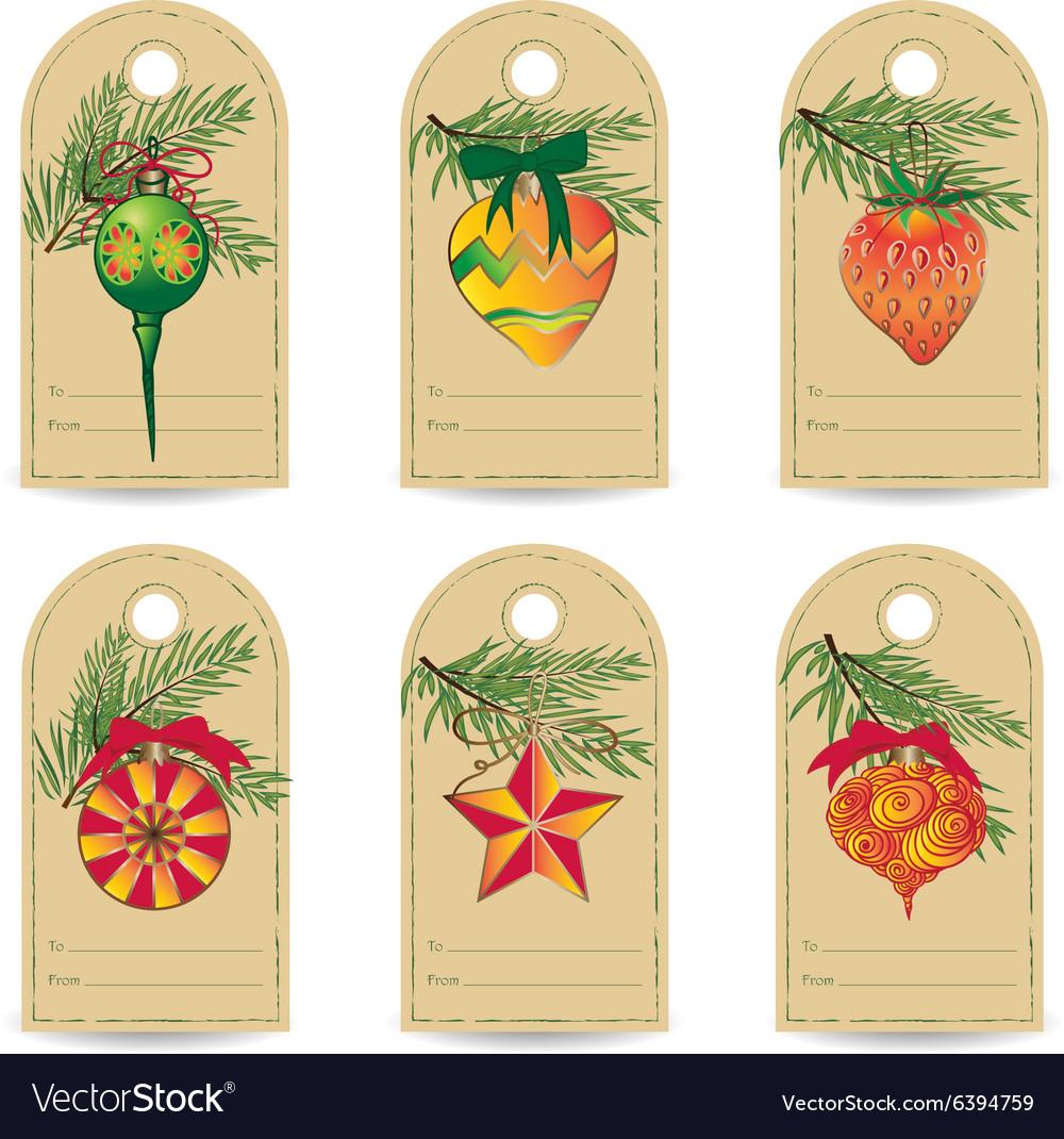 Set of vintage Christmas gift tags