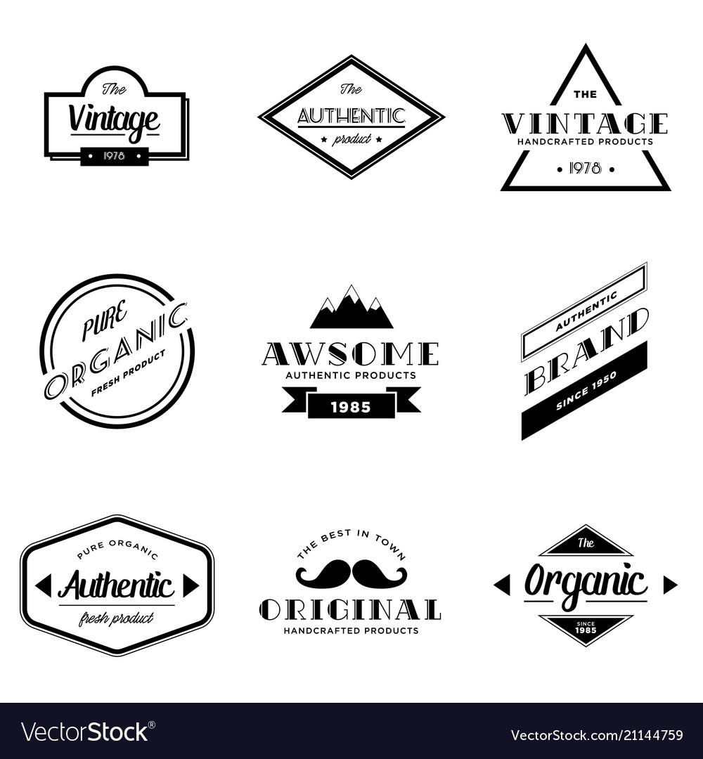 Set vintage badge logo