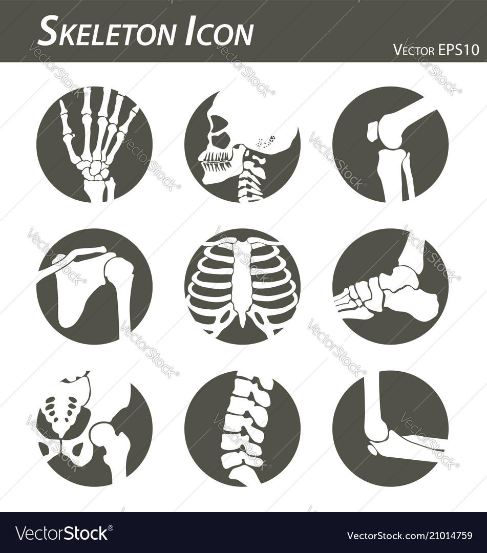 Skeleton icon black and white flat design