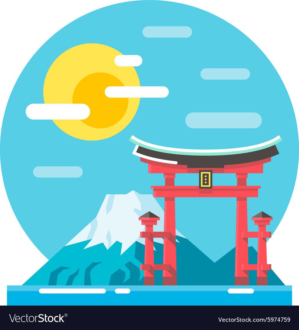 Torii shrine flat design landmark