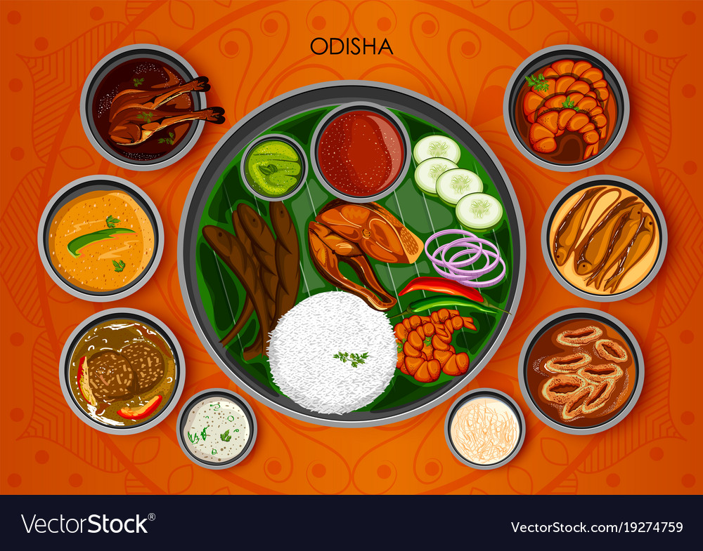 Traditional cuisine and food meal thali of odisha