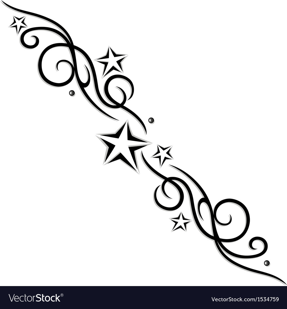 Tribal Flower Stars Tattoo Style Royalty Free Vector Image