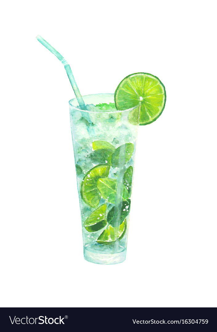 Watercolor classical mojito cocktail