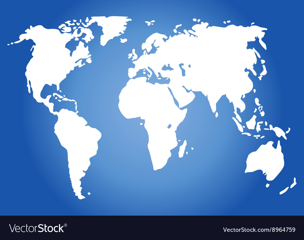 World map isolated on blue