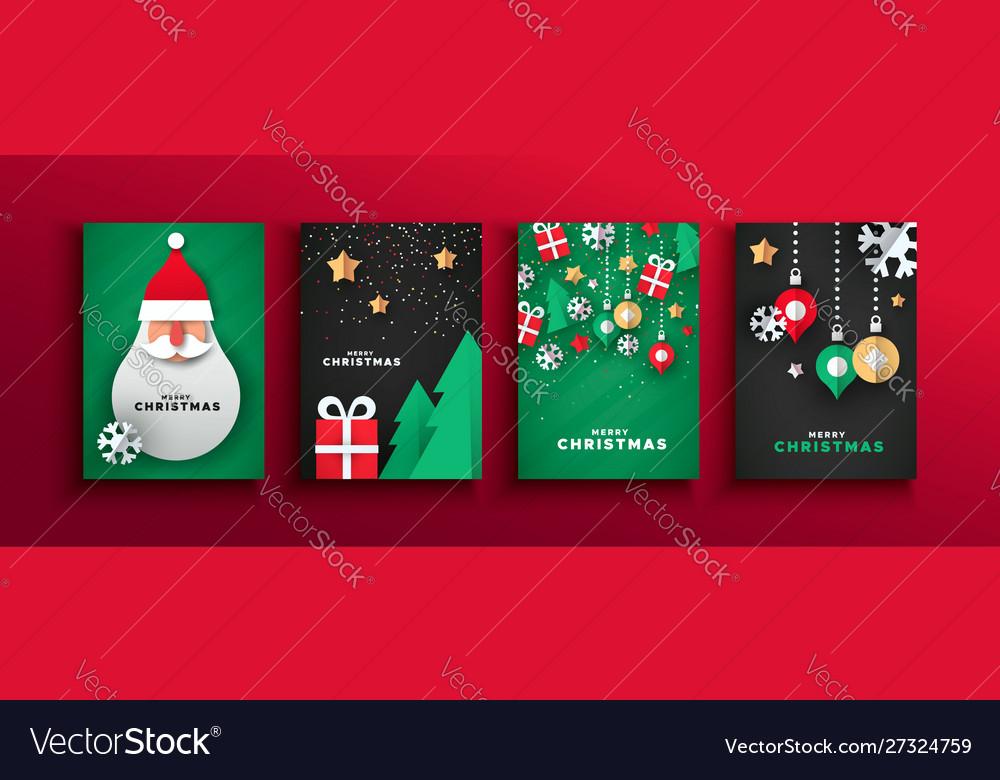 Year papercut santa claus card set