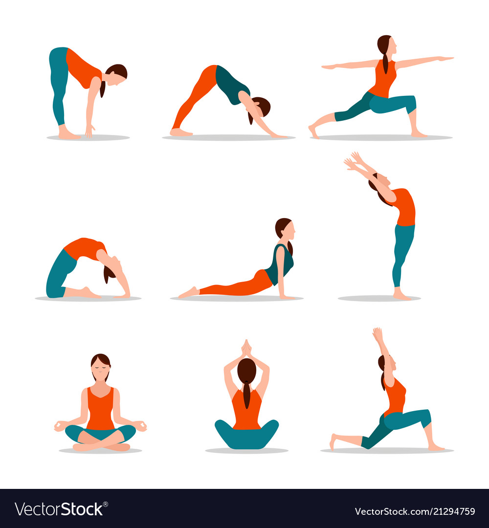 Yoga collection of poses