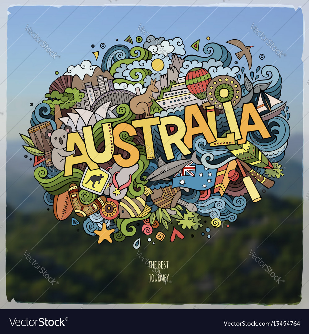 Australia hand lettering and doodles elements and