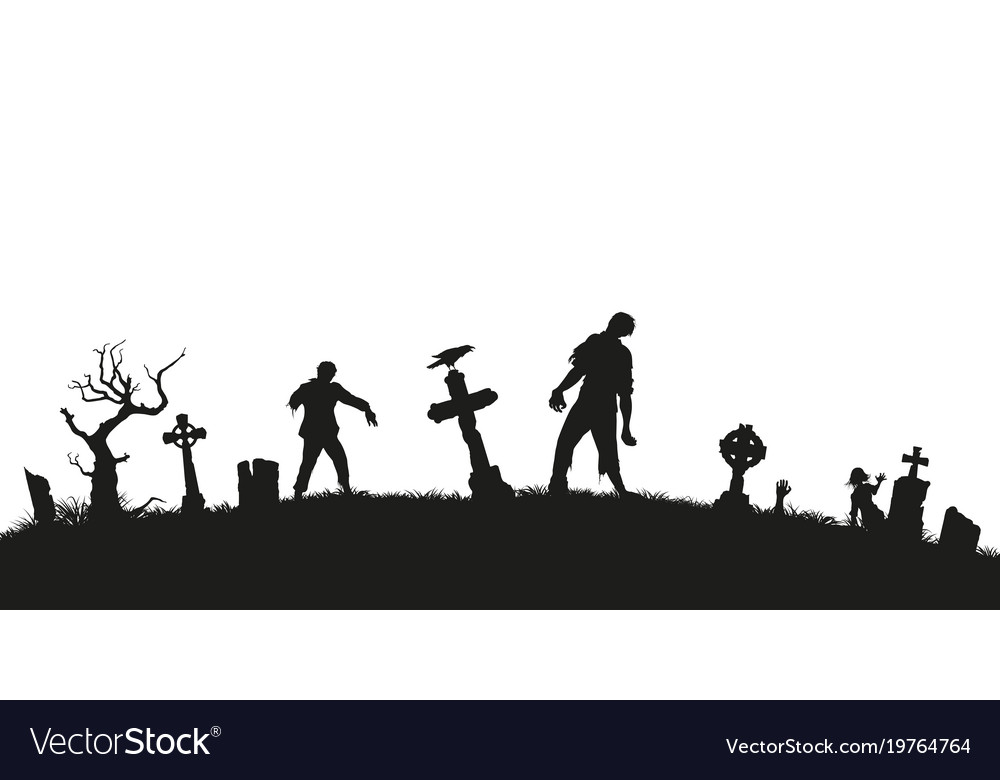 Black silhouette of zombies on cemetery background