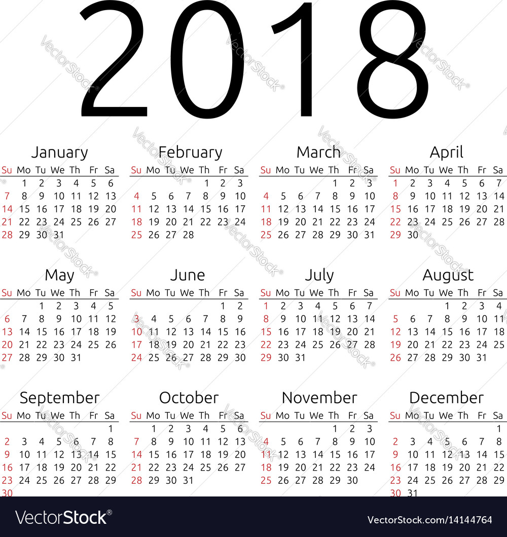 Calendar 2018 sunday