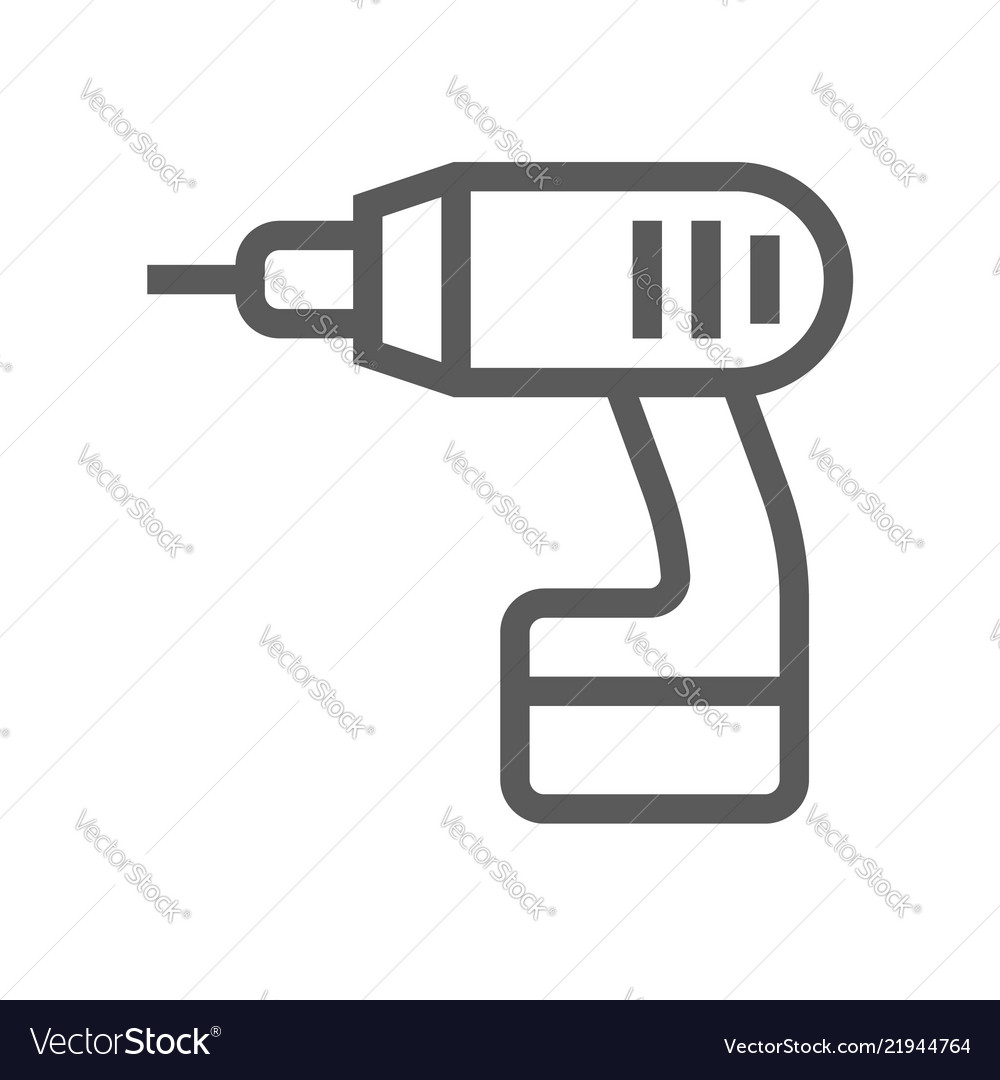 Drill home repair and tools line icon