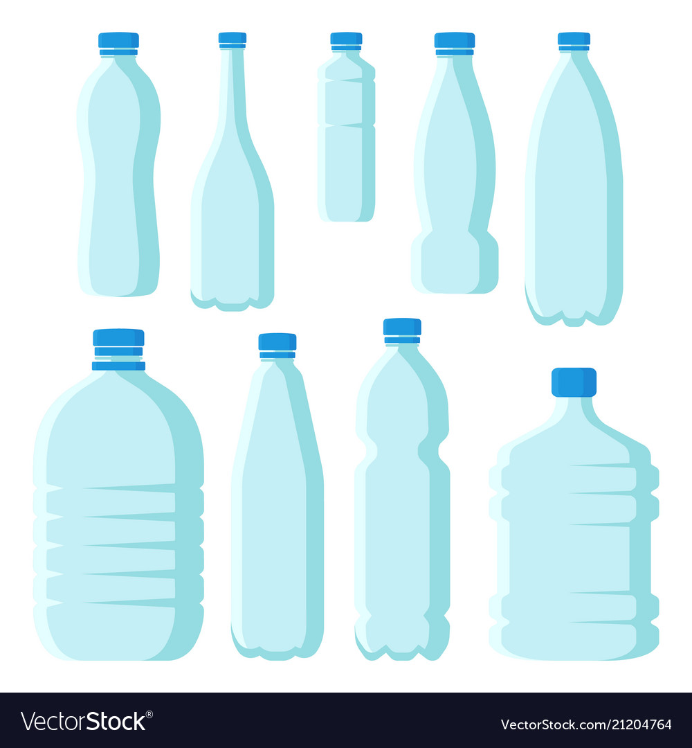 Flat set of small and large plastic bottles