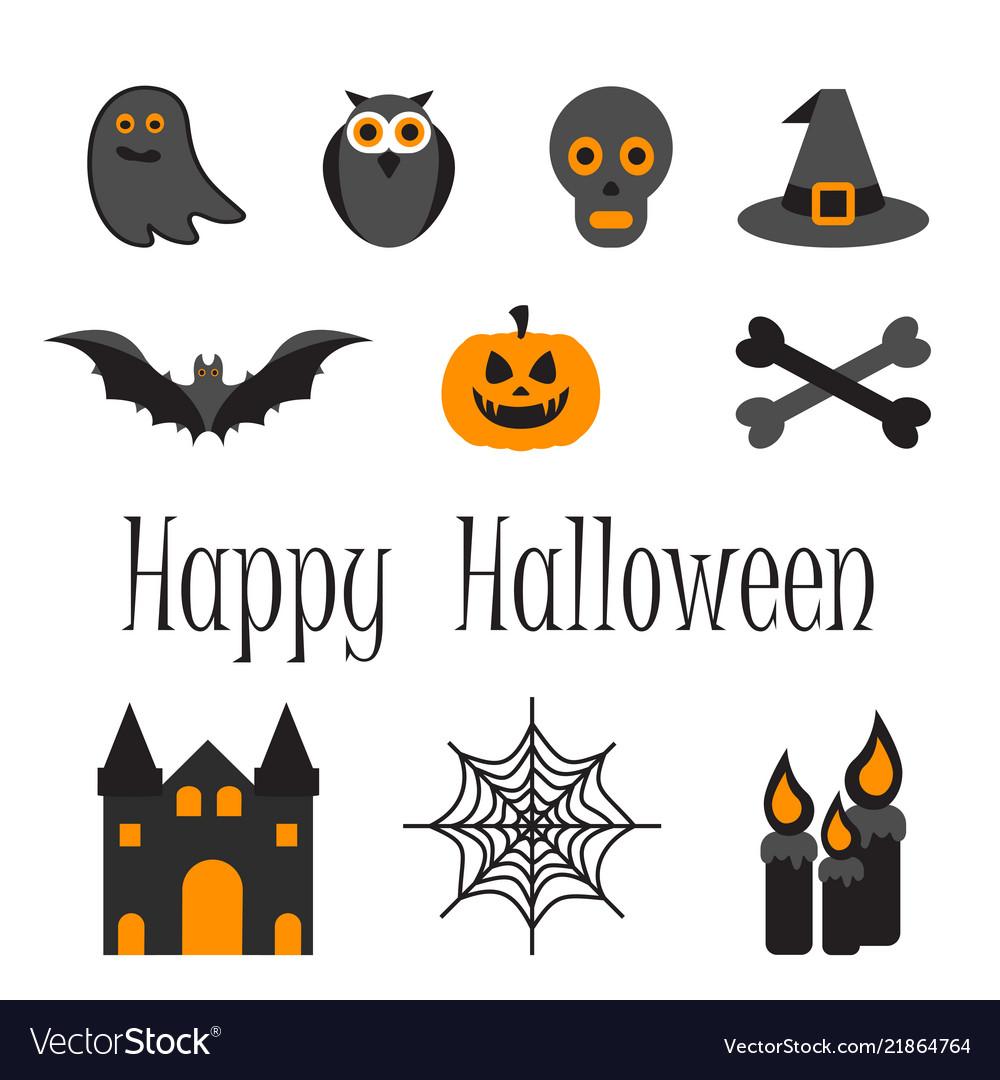 Happy Halloween Icon Set Of Symbols Royalty Free Vector