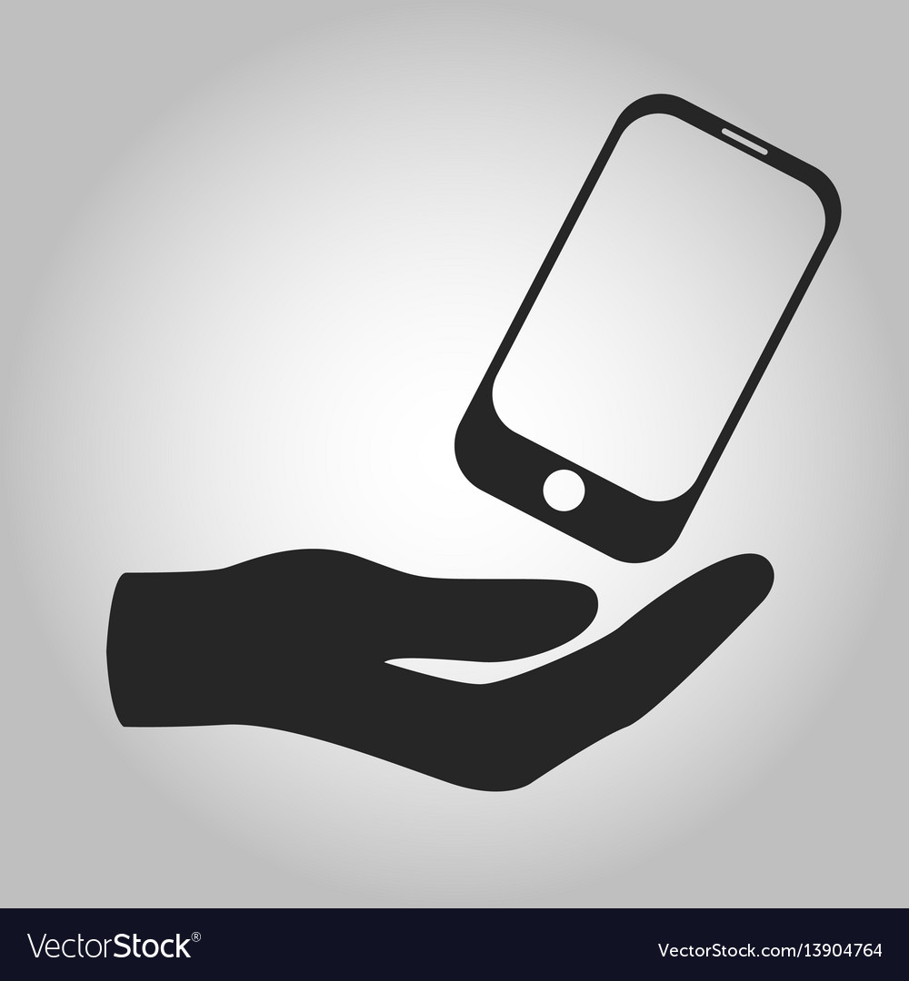 Icon hand holding smartphone isolated